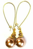 Very Long Gold dusty Pink Pearl Earrings Glass Bead Vintage Antique Gold Style