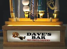 """(COLOR LED'S) 2 tier 7 beer tap handle display PERSONALIZED  """"NO FREELOADERS"""""""