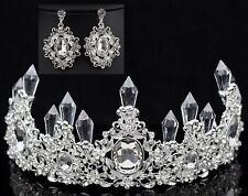Queen Floral Clear Austrian Rhinestone Crystal Tiara Crown Set Bridal Prom T7