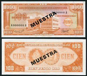 Dominican Republic 100 pesos oro 1964 Banco Central P104s3 Specimen Muestra aUNC