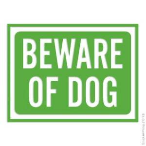 Beware Of Dog Sign Decal Sticker Choose Color + Size #4024