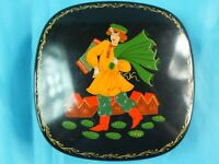 """1988 SOVIET RUSSIAN HAND PAINTED PALEKH LACQUER METAL BOX """"IVAN THE GIANT"""" SIGN"""