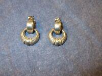 Vintage Pierced Earrings by MONET - Silver Tone Door KNOCKER Style - 3/4 inch