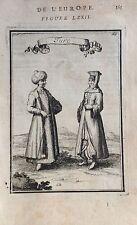 TURQUÍA, TURCOS, grabado original de Manesson Mallet 1693