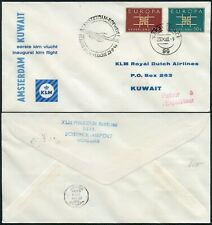 KLM to KUWAIT 1963 INAUGURAL FLIGHT EUROPA FRANKING RETOUR in RED