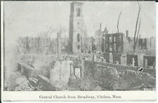 BA-479 Central Church from Broadway, Chelsea, MA, 1907-1915 Golden Age Postcard
