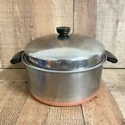 Vintage 1801 Revere Ware 6 QT Stock Pot Copper Clad Bottom Dome Lid Riverside CA