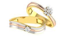 0.19Ct Natural Diamond Wedding Engagement Band Set Fine 14K Yellow Gold Ring