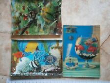 3D Vintage `70 Postcard POSTKARTE FISH AQUARIUM BIRD PARROT TREE Fischaquarium