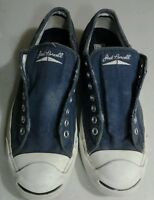JACK Purcell Converse Canvas Low Top Blue Distressed Worn Shoe Mens 8 Womens 9.5