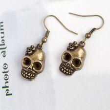A Pair Gothic Skull Skeleton Earrings, Antique Bronze, Rocker & Punk