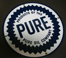 PURE round Oil Gasoline Porcelain Advertising sign....~12 inch
