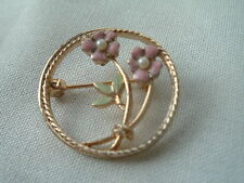Seed Pearl Flower Pin In Gift Box Vintage Gold Plated Pink Enamel and White