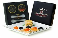 Caviar GIFT BOX 1oz American Black Hackleback & 1oz Salmon Roe Blini 2 Spoons