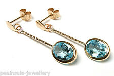 9ct Gold Blue Topaz long drop Earrings Made in UK Gift Boxed