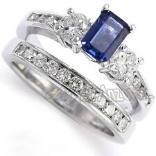Sapphire Diamond Engagement Ring Wedding Band Set 18k Gold 4 to 9.5 #R1174
