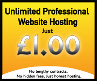 WEBSITE HOSTING UNLIMITED  - JUST £1.00 - NO LIMITS ON SPACE, BANDWIDTH OR EMAIL