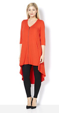 Join Clothes 3/4 Length Sleeve Rounded V Neck Dip Hem Back Tunic Coral One Size
