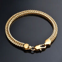 Unisex Men Women Chain Bracelet 18K Gold Plated Cuff Bangle Wristband Jewelry
