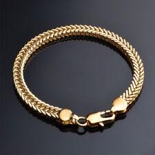 Unisex Men Women Chain Bracelet 18K Gold Plated Cuff Bangle Wristband Jewelry
