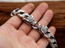 13mm solid 925 Sterling Silver men's leopard link biker bangle bracelet S1401