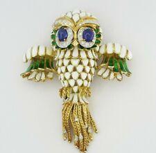 "18K Gold Vintage 2.85 ct Diamond Sapphire Enamel Owl Brooch 49.7 Grams 2.8""x2.2"""