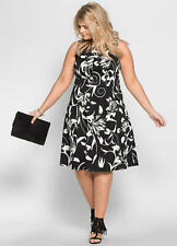Black and White Stretch Cotton Fit and Flare Summer Ocassion Dress Size 20/22