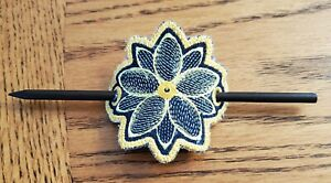 Embroidered flower hair clip