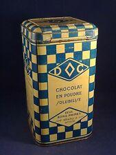 Ancienne boîte publicitaire tôle Cacao Chocolat poudre DC DOC style lustucru 30