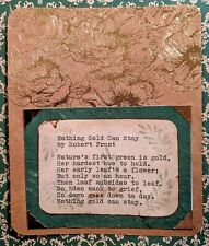 Hand Typed Poetry, Nothing Gold Can Stay by Robert Frost, Vintage Style Original