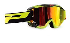 Progrip 3450 Mirrored Lens Motocross Goggles Fluorescent Yellow-Black Frame