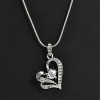 Women Fashion Heart Crystal Rhinestone Pendant Silver Chain Necklace Jewelry E7