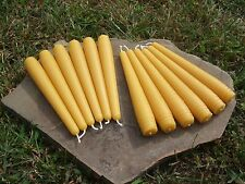 "12 - Hand Poured 6"" Round 100% Beeswax Taper Candles All-Natural, Cotton Wicks"