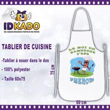 Tablier de cuisine LE ROI DU BARBECUE personnalisé avec Prénom cadeau cuisine
