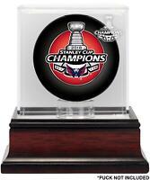 Washington Capitals 2018 Stanley Cup Champions Mahogany Hockey Puck Logo Case