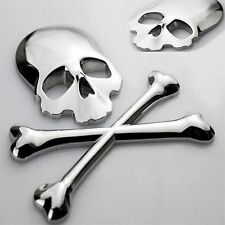 3D Chrome Skull n Cross Bones Logo Emblem Sticker Decal Real Metal -Not Plastic-