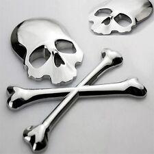 3D Chrome Skull n Cross Bones Logo Emblem Sticker Decal Real Metal -Not Plastic-