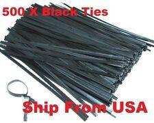 """500 Plastic Twist Ties (Black) 5""""  - General Purpose"""