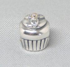 Authentic Pandora Cupcake Birthday Charm/Bead 14K Gold Silver 925 ALE 790417