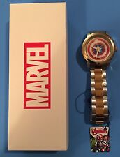 NEW Marvel Comics Avengers CAPTAIN AMERICA  Shield Silver/Gold Men's Metal Watch