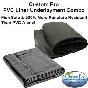 COMBO KIT 15x25' -PVC Liner & Protective Underlayment -for Ponds & Water Gardens