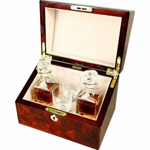 Double Mini Decanter and Crystal Shot Glass Set in a Luxury Makah Burlwood