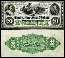 NICE CRISP UNC 1872 PRINCE EDWARD ISLAND $20 BANK NOTE COPY READ DESCRIPTION !