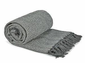 Silver Herringbone Throwover Large 100% Recycled Cotton Sofa Bed Blanket