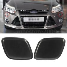 Pair Black Bumper Headlight Washer Jet Nozzle Cover Cap For Ford Focus 2012-2014