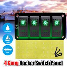 4 Gang 12V/24V Green LED Light Rocker Switches Combination Car RV Switch Panel