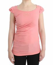 NWT $170 CLASS ROBERTO CAVALLI Pink Cotton Tank Top Blouse T-Shirt IT46/US12