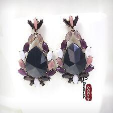 Boucles d`Oreilles Clous Gros Goutte Noir Beige Retro Vintage Ancien AA 11