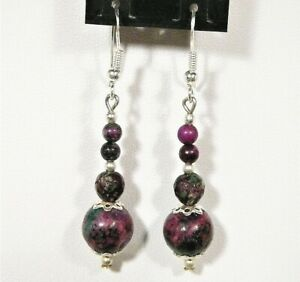 """RUBY ZOISITE EARRINGS STERLING.SILVER 5.5CM LONG """"NEW"""" AUZ MADE RZ1"""