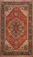 Geometric Heriz Oriental Area Rug Wool Hand-knotted Traditional Carpet 4x6 Foyer